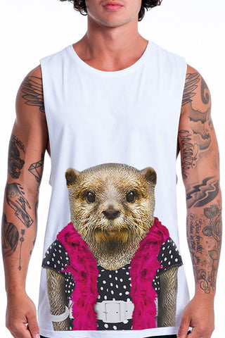 Men's Otter Muscle Tank, White