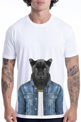 Men's Panther Male T-Shirt - Classic Tee, White