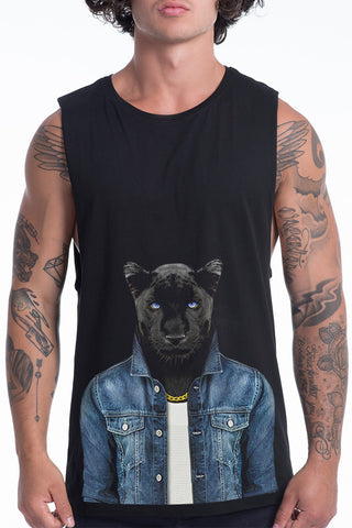 Men's Panther Male Muscle Tank, Black