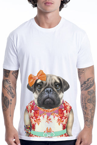 Men's Miss Pug T-Shirt - Classic Tee, White
