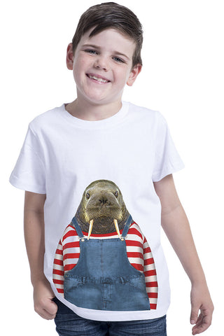 kids walrus t shirt white