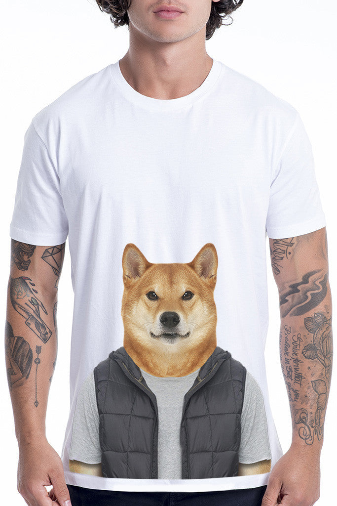 Gemeinsame Men's Shiba Dog T-Shirt - Black - Animalyser &LA_37