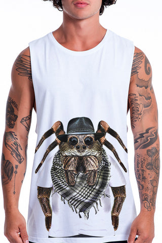 Men's Spider Muscle Tank, White