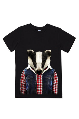 kids badger t shirt black