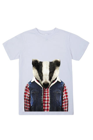 kids badger t shirt white
