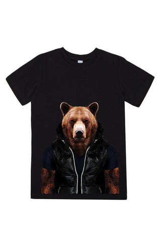 kids bear t shirt black