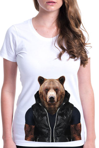 women's bear t-shirt white