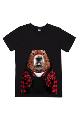 kids beaver t shirt black