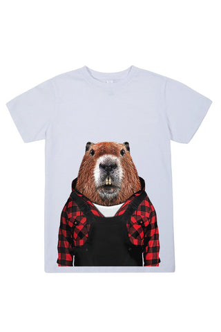kids beaver t shirt white