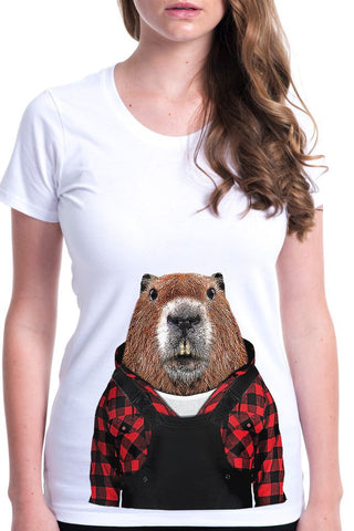women's beaver t-shirt white