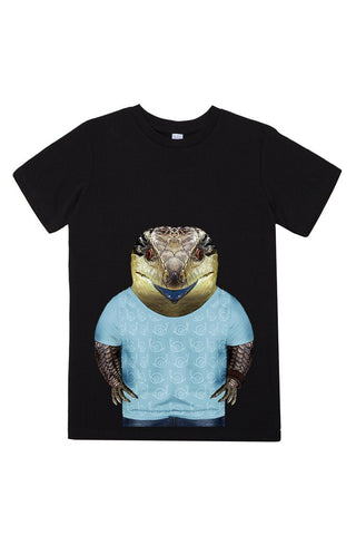 kids blue tongue lizard t shirt black