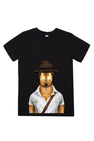 kids camel t shirt black