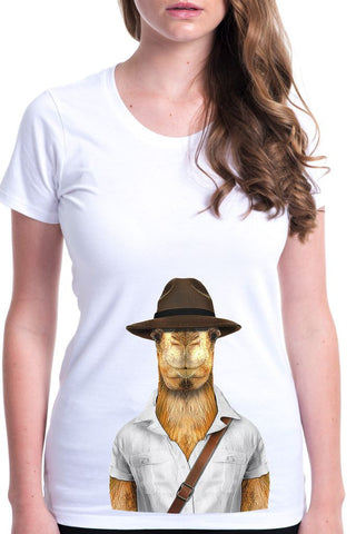 women's camel t-shirt white