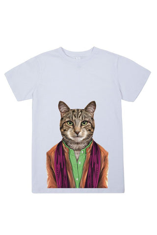 kids cat male t shirt white