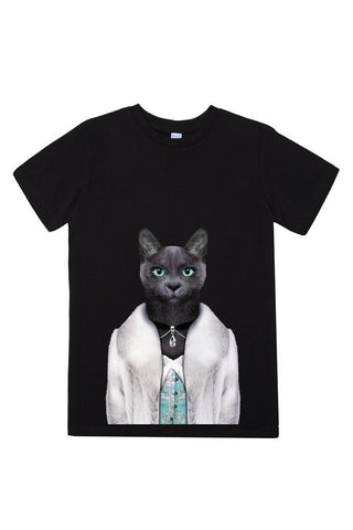kids cat female t shirt black