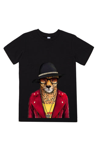 kids cheetah t shirt black