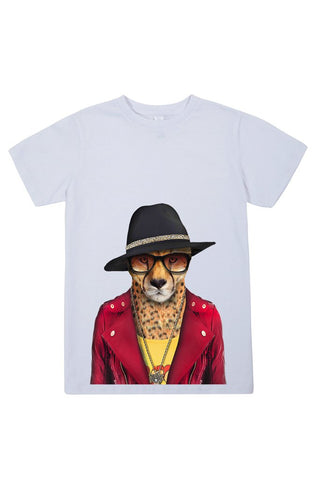 kids cheetah t shirt white