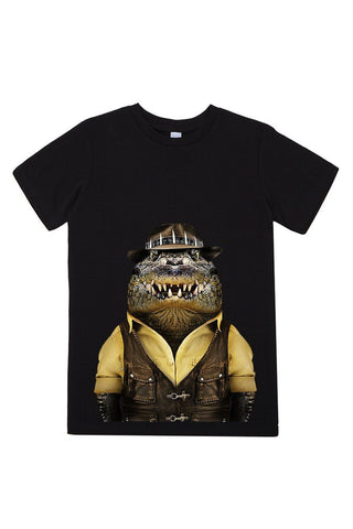 kids crocodile t shirt black