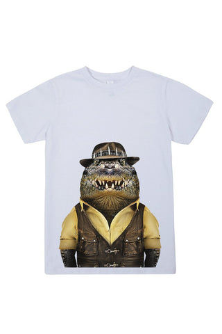 kids crocodile t shirt white