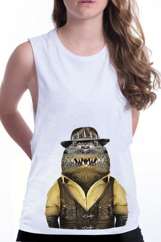 women's crocodile boyfriend tank white