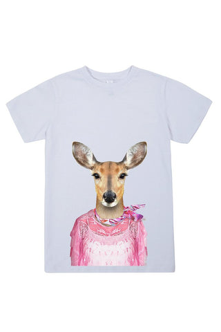 kids deer t shirt white