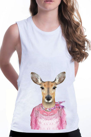 women's deer boyfriend tank white