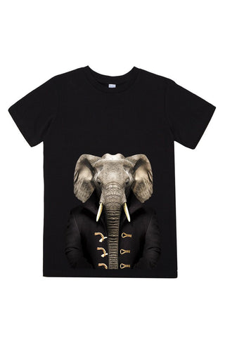 kids elephant t shirt black