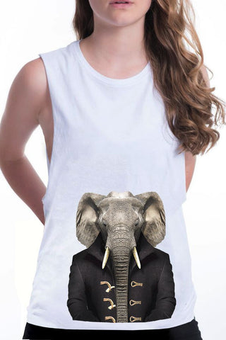 women's elephant boyfriend tank white