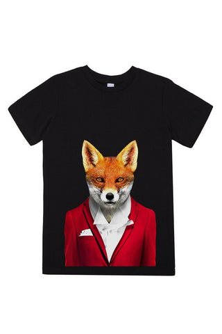 kids fox t shirt black