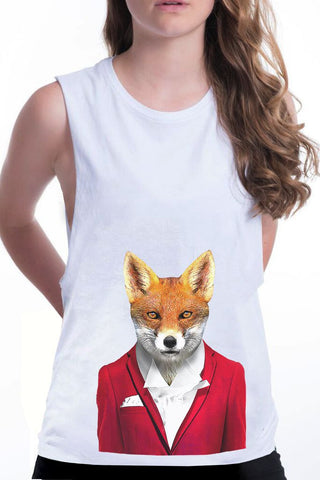 women's fox boyfriend tank white