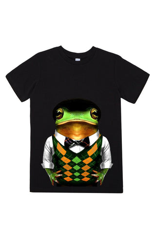 kids frog t shirt black