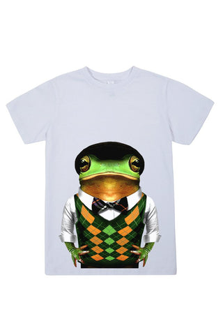 kids frog t shirt white