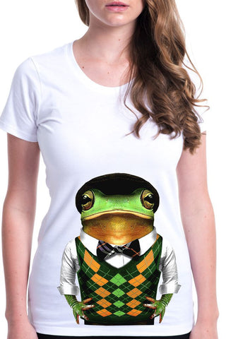 women's frog t-shirt white