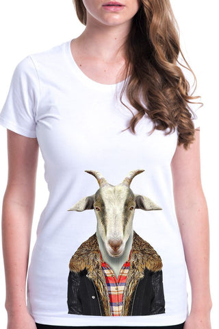 women's goat t-shirt white