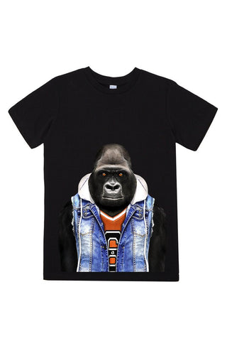 kids gorilla t shirt black