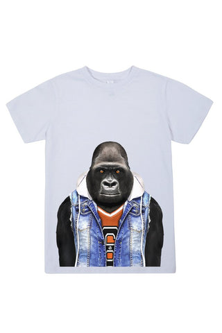 kids gorilla t shirt white