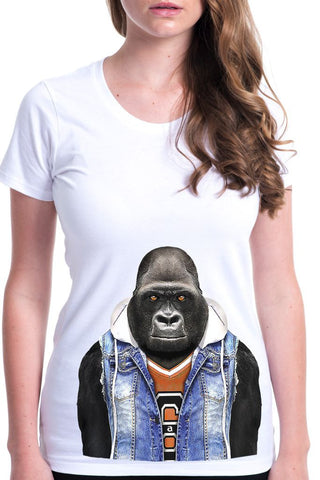 women's gorilla t-shirt white