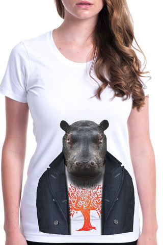 women's hippo t-shirt white