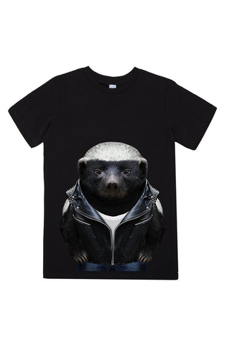 kids honey badger t shirt black