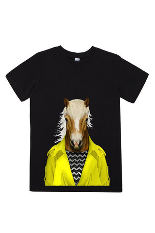 kids horse t shirt black