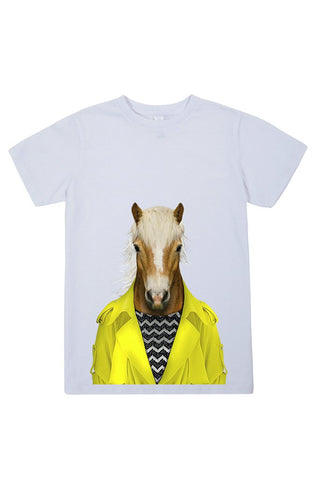 kids horse t shirt white