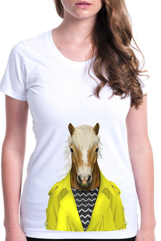 women's horse t-shirt white
