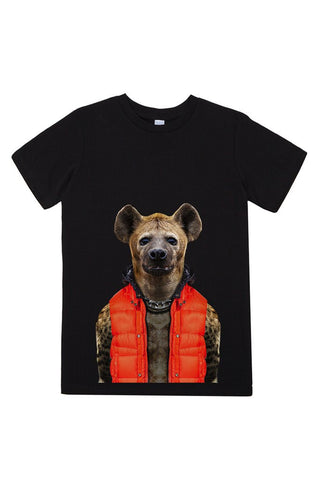 kids hyena t shirt black