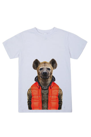 kids hyena t shirt white