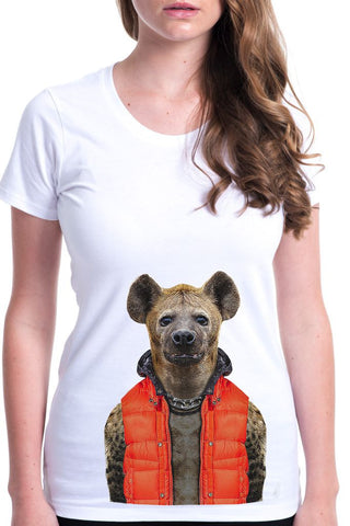 women's hyena t-shirt white