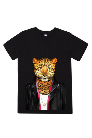 kids leopard t shirt black