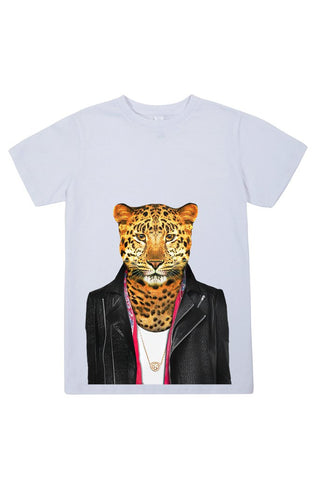 kids leopard t shirt white