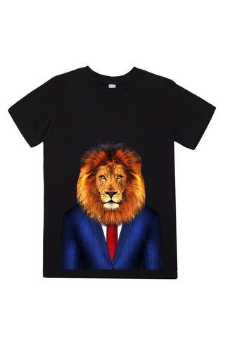 kids lion t shirt black
