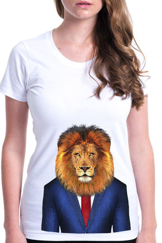 women's lion t-shirt white