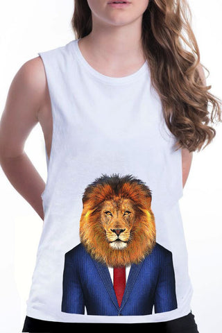 women's lion boyfriend tank white